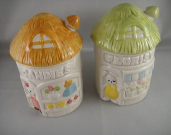 Candy Shop and Florist Ceramic Salt and Pepper Shakers Japan