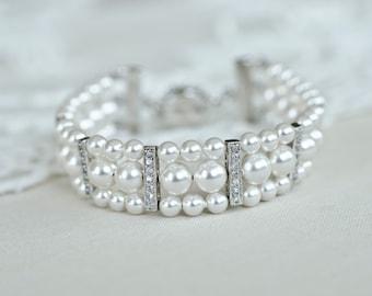 Bridal Bracelet, White Ivory Cream Multi Strand Classic Bridal Pearl Bracelet, Swarovski Wedding Cuff Bracelet and Cubic Zirconia Rhinestone