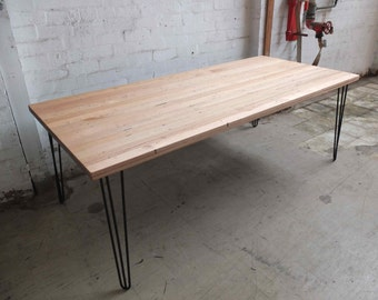 Recycled timber table with metal hairpin legs
