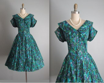 50's Day Dress // Vintage 1960's Green Abstract Print Cotton Full Garden Party Dress L XL