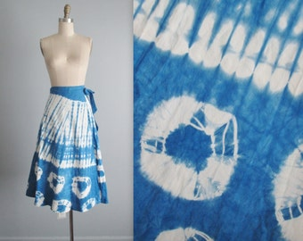 70's Tie Dye Skirt // Vintage 1970's Tie Dye Cotton Summer Wrap Skirt  XS S M
