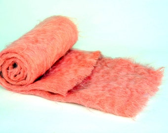 Vintage Pink Scottish Mohair Scarf / Shawl / Wrap: Lovely, Large, Fine Wool Winter Warmer