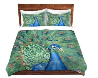 Duvet Cover Peacock Painting - Nature Modern Bedding - Queen Size Duvet Cover - King Size Duvet Cover