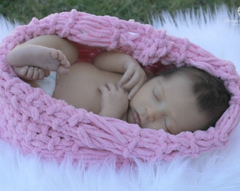 "Newborn Photography Prop Pink Baby ""Cozy"" Loop Photo Prop Cocoon LOOK for Baby Girl Babies by BabyBirdz / CricketsKnits / CricketsCreations"