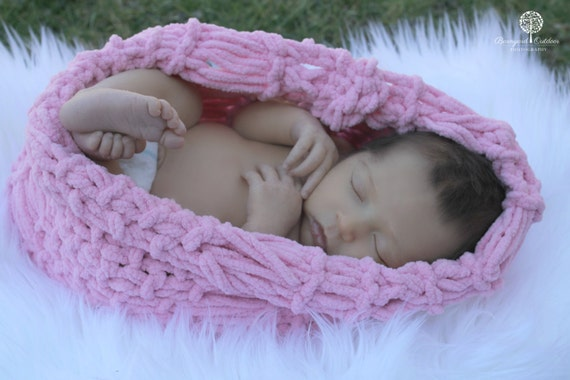 "Newborn Photography Prop Pink Baby ""Cozy"" Loop Photo Prop Cocoon LOOK for Baby Girl Babies by BabyBirdz / CricketsKnits / CricketsCreations"