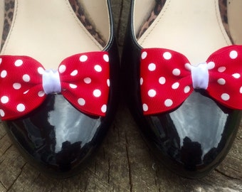 Red Spotty Shoe Clips 4 Shoes White Polkadot Pinup Burlesque Bows by Seriously Sassyx