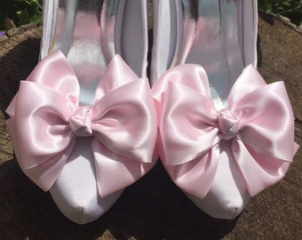 Pink Shoe Clips For Bridal Shoes Prom Shoes Satin Bow Shoe Clips Pinup Burlesque Retro Vintage Style by Seriously Sassyx