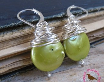 Chartreuse Coin Pearl Earrings, Messy Wire Wrap, Chartreuse, Lime Green, Dangle Earring, Lime Sterling Coin Pearls, MagpieMadness for Etsy