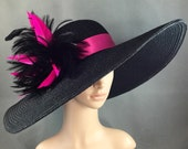 Black Kentucky Derby Hat with Fuchsia Pink hand-trimmed feathers, Derby Hat, Dressy Hat ,Formal Hat, Wedding Hat,Special Occasion