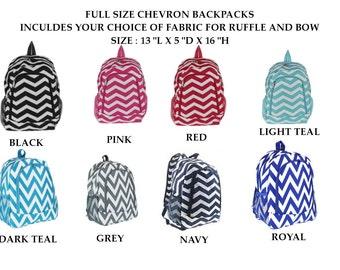 Girls' Backpack; Ruffled Backpack; Full Size Backpack, Chevron Backpack