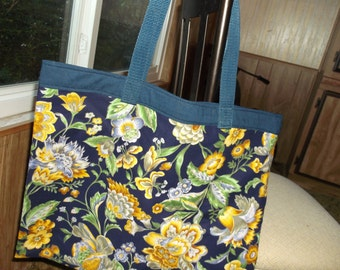 "fFLORAL MARKET BAG XLg 15.5""X 18"" Reusable Fabric Grocery yellow/blue flowers/leaves on navy w/long poly straps affordable Eco-Friendly Gift"