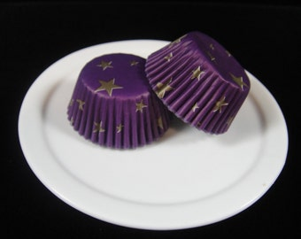 Purple w/Gold Stars Mini Cupcake Liners, Mini Baking Cups, Mini Muffin Papers, Cake Pop Papers, Truffle Cases - QTY. 25
