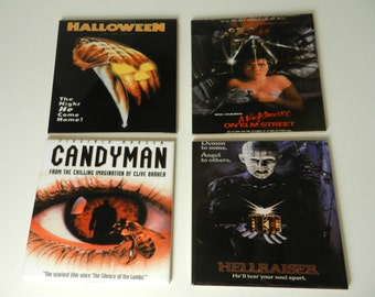 Horror Movie Drink Coasters Ceramic Tile Media Room Coasters Halloween Nightmare Assorted Set Four