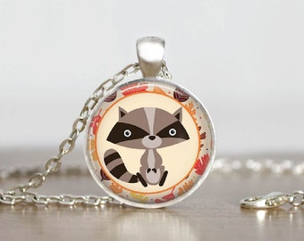 Cute Whimsical Raccoon Glass Tile Pendant Necklace