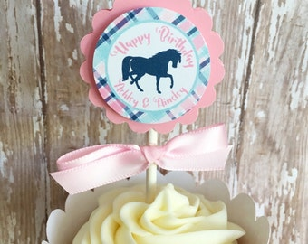 12 horse party cupcake toppers, horse birthday cupcake toppers, pink and navy plaid birthday cupcake toppers--set of 12