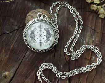 January Nature Mandala Pendant Necklace (antique silver finish)