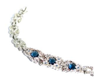 Art Deco Vintage Sapphire Rhinestone Bracelet Repurposed Vintage Jewelry