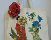 Frida, Tote Bag, Cream Canvas Fabric, Appliqué, Rhinestones