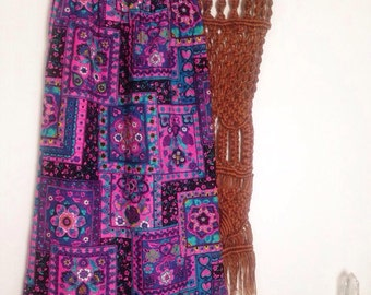 Psychedelic Print Quilted Maxi Skirt XS-M