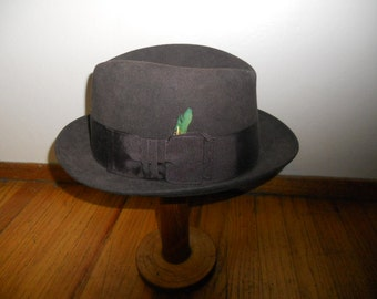 Vintage Knox Admirality Brown felt Fedora Hat Long Oval Size 7 1/8 Dapper