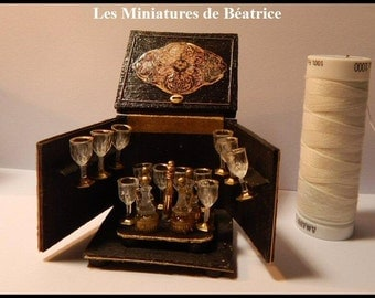 Miniature Antique french Tantalus Case w/ Decanters and Glasses