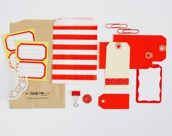 Planner Kit Tag + Embellishment Collection . Red . Listing Scrapbooking Mixed Media Mini Album Midori Travelers Notebook Listers Challenge