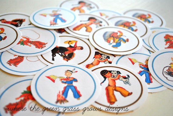 Cowboy and Indian Sticker Labels