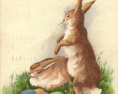 Pair of Brown Bunny Rabbits with Colored Eggs – Vintage Easter Postcard 1916 – Dancing Bunny