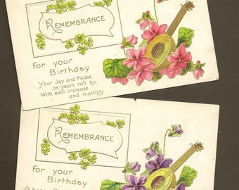 Pair Romantic Vintage Floral Birthday Postcards – Pink and Purple Flowers With Lute 1912