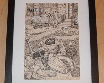 Original Doodle Pad drawing by David Jablow 2014 Framed #3 Lawn
