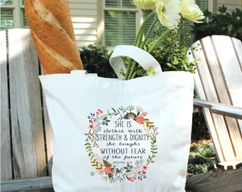 Scripture Tote Bag-Cotton Canvas Tote Bag-Watercolor Flower Tote-Flower Wreath Tote Bag-Proverbs 31:25 Tote