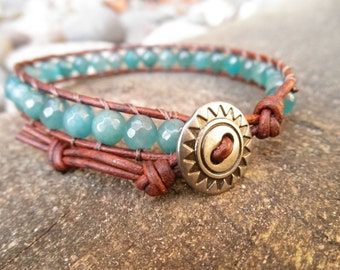 Single Faceted Light Teal Agate and Leather Wrap Bracelet
