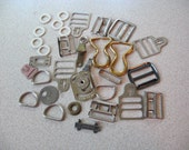 Vintage Silver Toned White and Gold Toned metal pieces for crafting sewing mixed media - lot of 20 - sewing notions