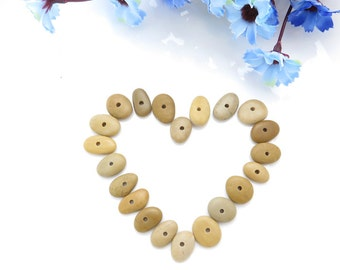 Bulk Jewelry Supplies, Center Drilled Beach Stones, Oval Shaped Special Medium Pebbles for DIY 1.5 mm hole
