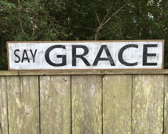 Say Grace Sign, 41x7.25 framed, Rustic Sign, Kitchen Sign