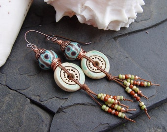 Free Spirit - Stoneware and Lampwork Earrings