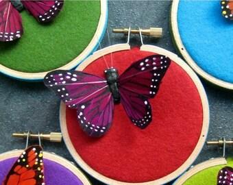 Christmas in July Sale Butterfly hoop art - home decor by mlmxoxo