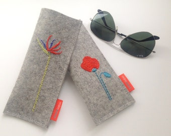 Sunglass case, eyeglass case, plain or hand embroidered bird of paradise or poppy, pure wool felt case, eyewear accessory,  eco-friendly