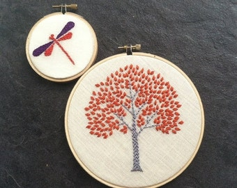 On Sale Tree & Dragonfly. hand embroidered. hoop art. orange. magenta. citrine. aqua. purple. spring green. wall wear. hand embroidery by  m