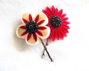 Elegant Flower Hair Pins in Black Cream and Red Wearable Fiber Art Bobby Pins