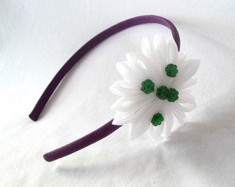 Purple and White Flower Headband with Forest Green Beads