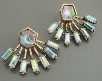 Ear Jackets - Statement Earrings - Antique Gold Earrings - Aura Crystal Earrings - Stud Earrings - Boho Earrings - Trending Earrings