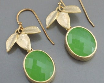Gold Earrings - Green Earrings - Leaf Earrings - Drop Earrings - Peridot Glass Earrings - handmade jewelry