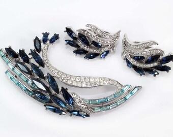 TRIFARI Aqua Baguette and Montana Sapphire Navette Rhinestone Brooch and Earring Demi