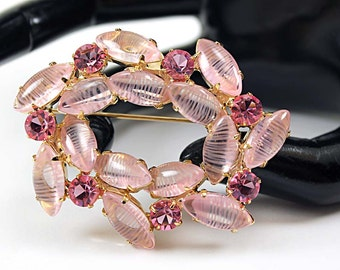 Vintage Pink Striped Art Glass Navette and Rose Rhinestone Oval Brooch