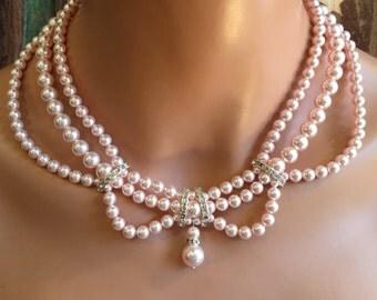 Pearl Bridal Necklace Set Blush Rosaline Pink 3 multi strand Swarovski pearls Vintage Victorian style with rhinestone wedding jewelry sets