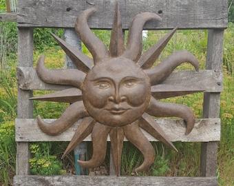 Metal Garden Decor, Garden Decor, Metal Sun, Sun Wall Art, Outdoor Wall Art, Metal Sun Decor Wall Art Garden Wall Hanging Copper Wall Decor