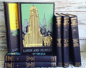 Vintage Lands and Peoples Encylopedia Set 1965 Grolier Set of 7