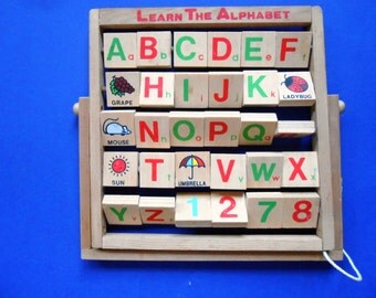 Vintage Wooden Alphabet Toy, ABC Blocks, Learning Toy
