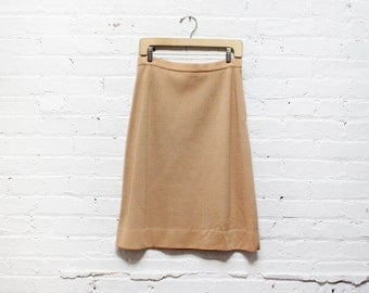 70s Tan Wool Skirt M • Beige Knit Skirt • A Line Skirt • High Waisted Midi Skirt | SK383